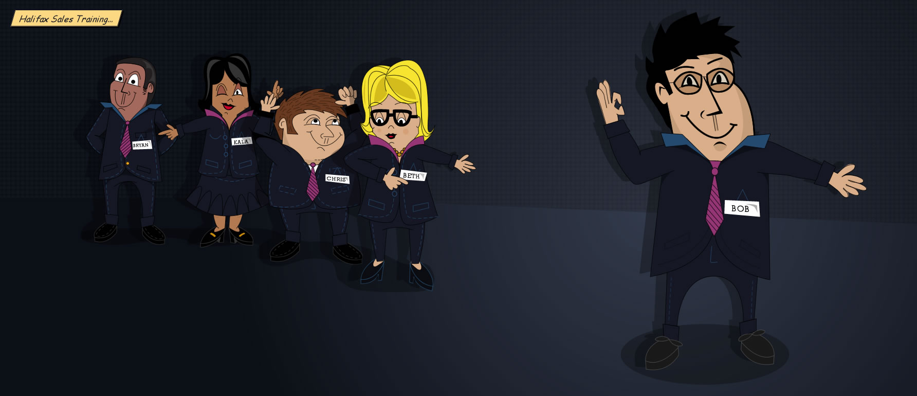 Character illustrations for Halifax sales training course