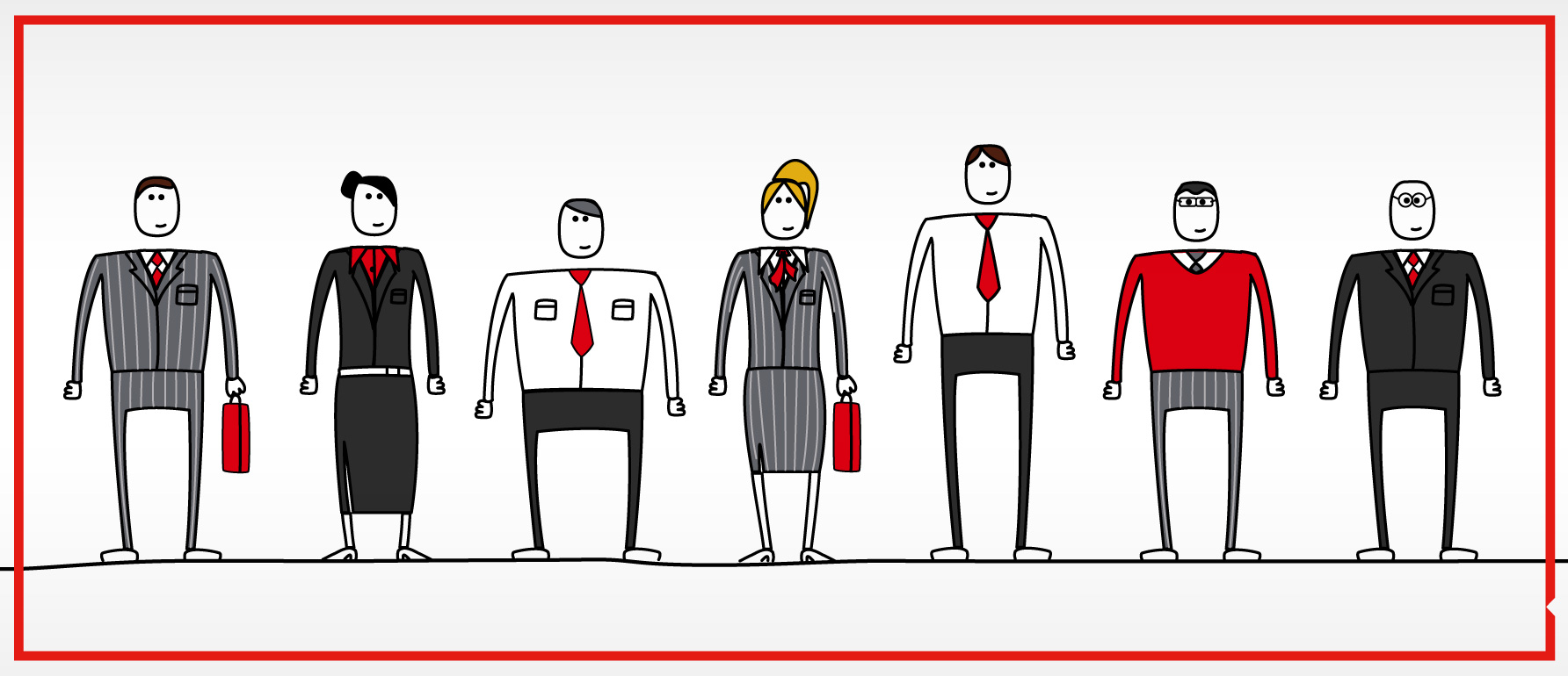 Sales team character's designed for HSBC e-learning course
