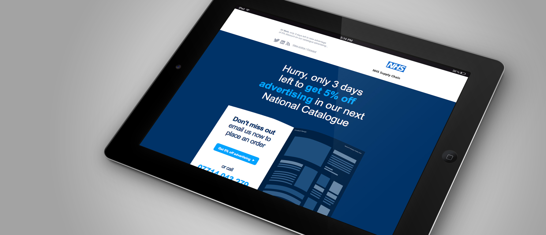 Email marketing design example on iPad