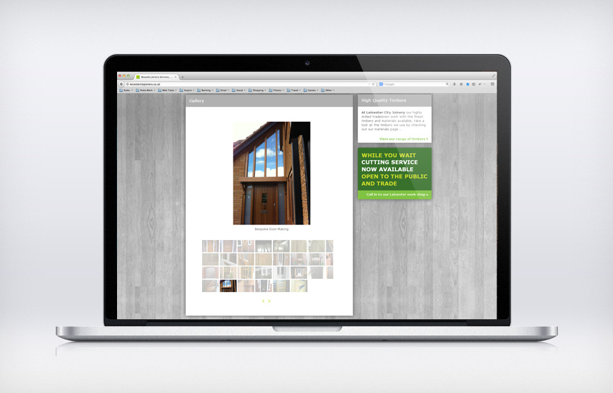 Web design screenshot of image gallery