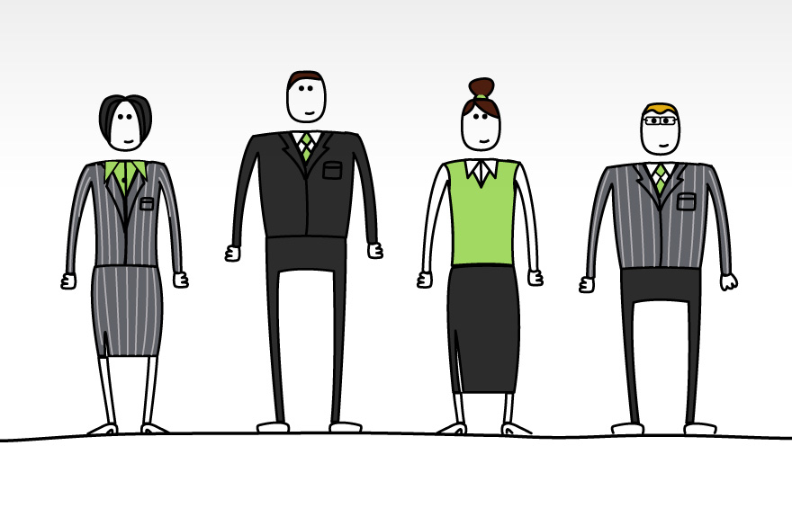 Client character's designed for HSBC e-learning course