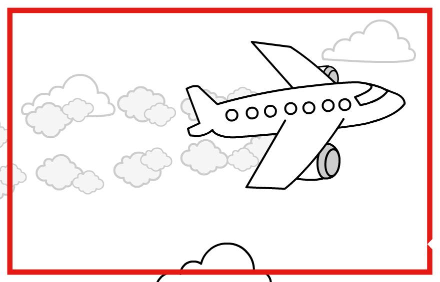 Plane flying illustration