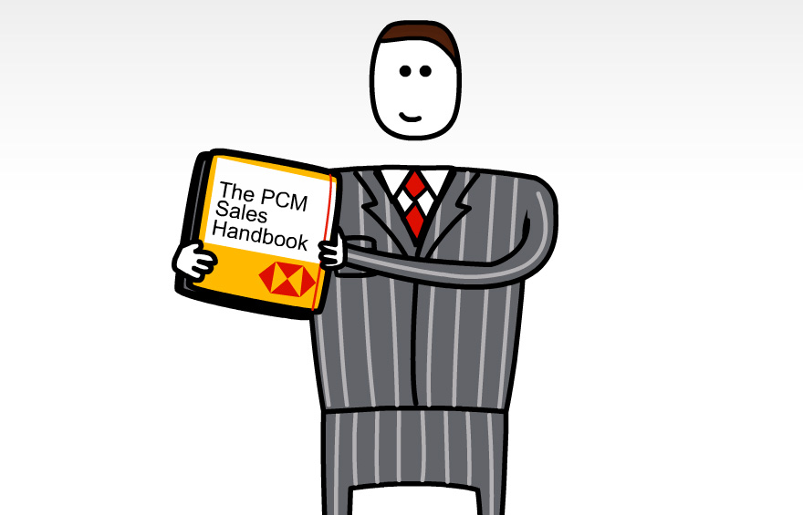Main chracter design holding sales handbook