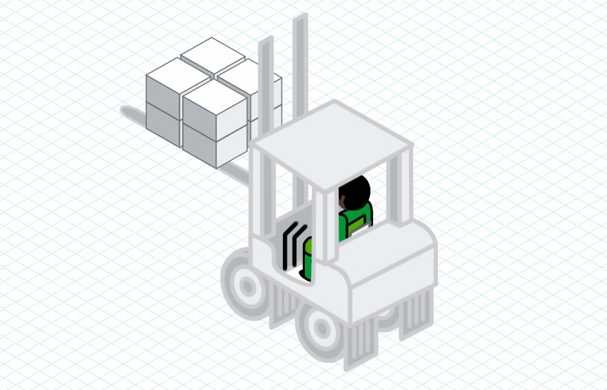 Isometric forklift truck illustration