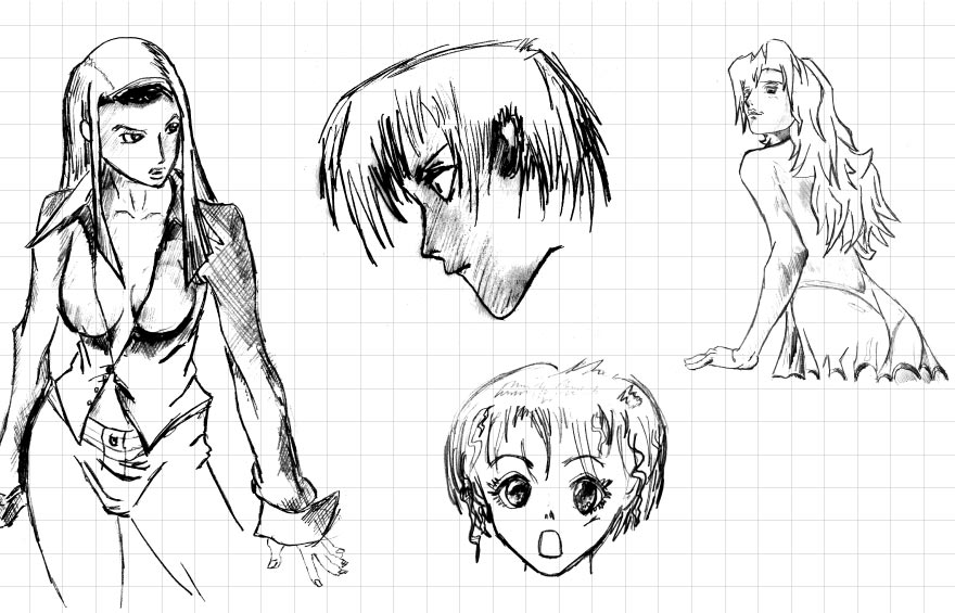 Hand-drawn manga illustration concepts