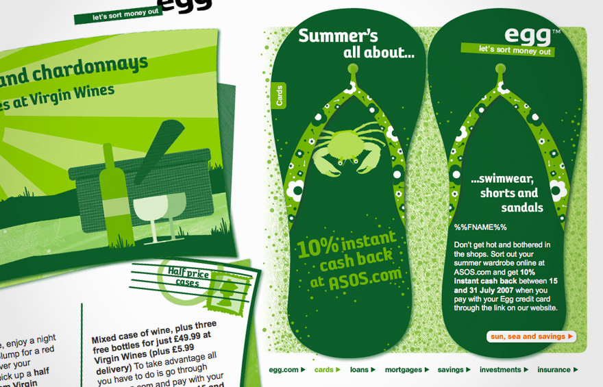 Examples of HTML email design for Egg.