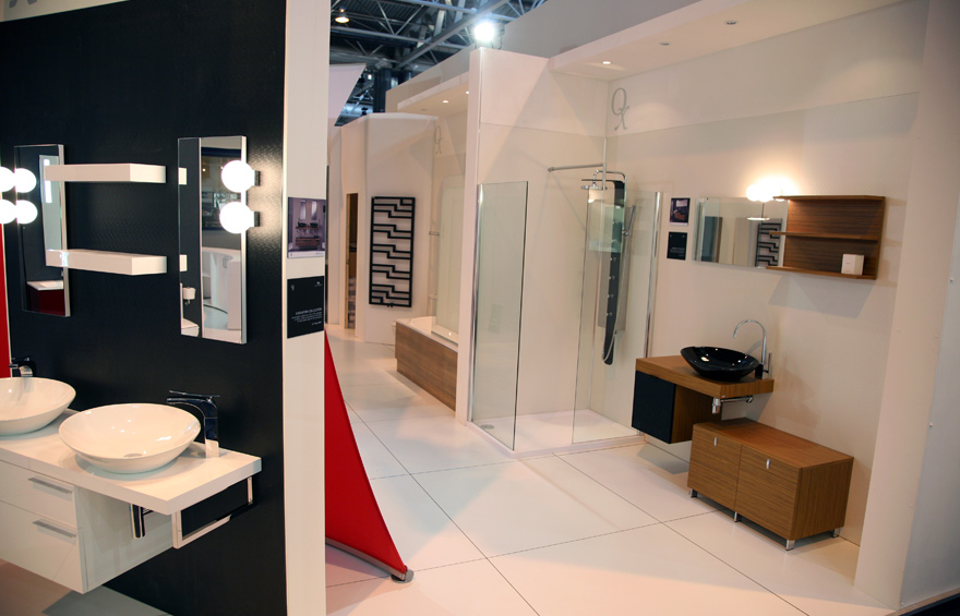 Photograph of QX's exhibition stand at Kitchens, Bedrooms and Bathrooms.