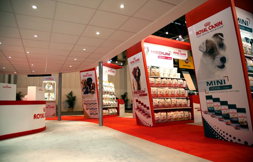 Photograph of Royal Canin's exhibition stand at Crufts.