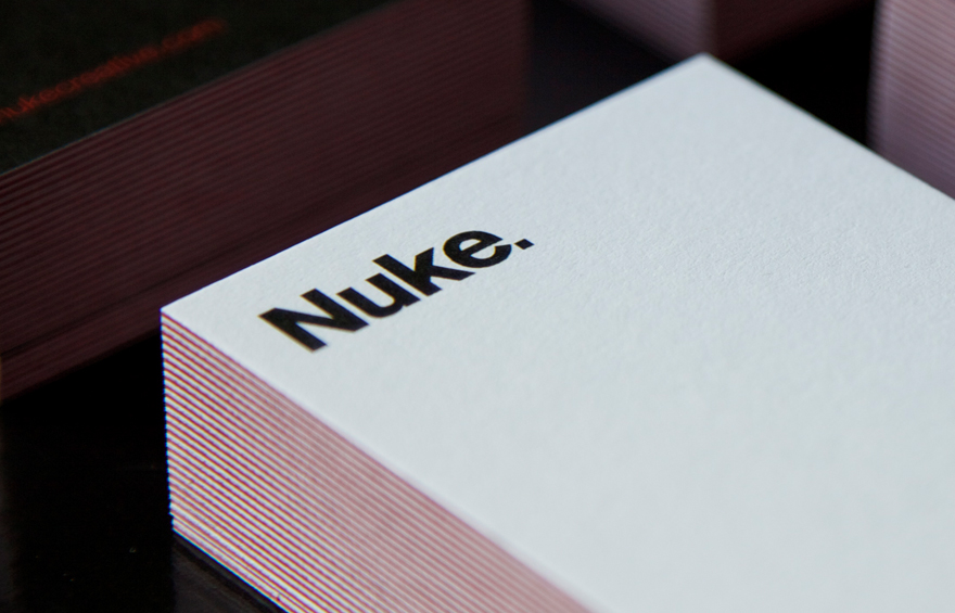 Close up of Nuke logo on business card