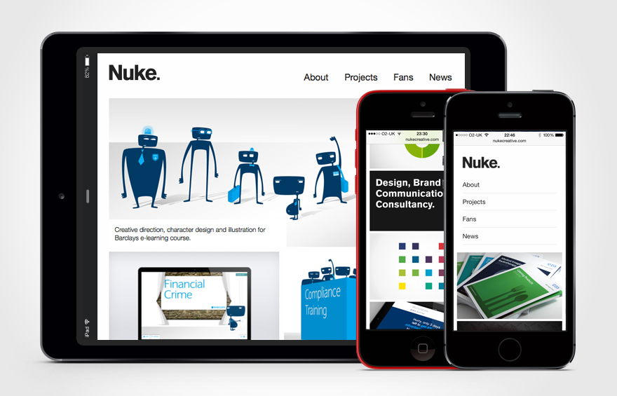 Website redesign example on iPad and iPhone devices