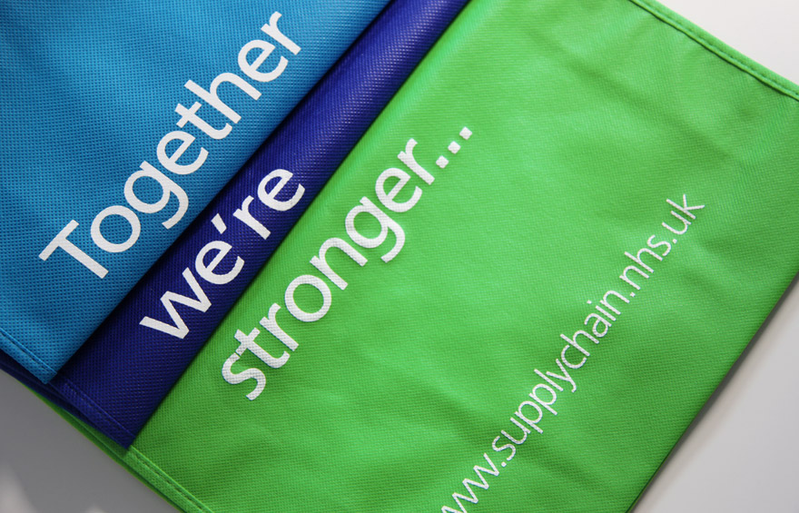 Branding across fabric bags